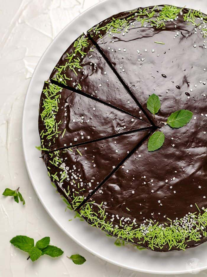 An overhead view of the chocolate cake with cut slices.