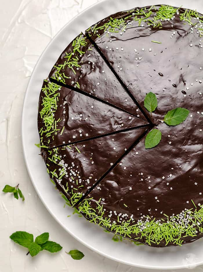 The chocolate mint cake sliced for serving.