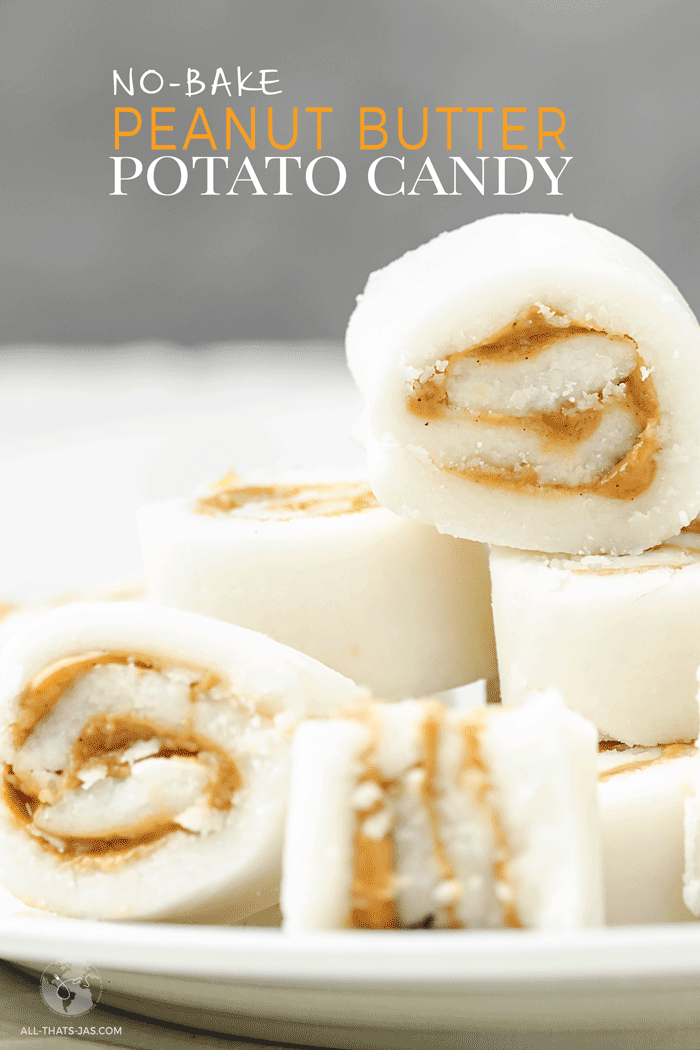This no-bake potato candy is an old fashioned recipe that only needs three ingredients to make: one mashed potato, powdered sugar, and a layer of peanut butter. Enjoy this nostalgic dessert at your next celebration, holiday festivity, or your family reunion. | allthatsjas.com | #candy #sweets #treat #potato #potatocandy #peanutbutter #easy #threeingredinets #Irish #StPatricksDay #Christmas #oldfashioned #nobake #glutenfree #pinwheels #allthatsjas #reicpes #worldcuisine #dessert