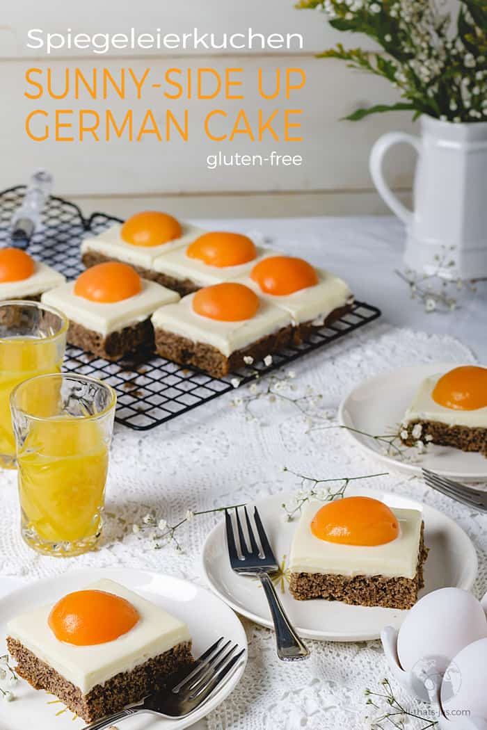 How to make German Sunny-Side Up Cake. This faux egg dessert is gluten-free and easy to make with step-by-step instructions. Perfect for celebrations, Easter, and April Fools' Day. | allthatsjas.com | #cake #dessert #glutenfree #almondflour #apricots #pudding #German #spiegeleirkuchen #sweets #recipes #recipeofthemonth #allthatsjas #baking #eattheworld #worldcuisines #holidayfood