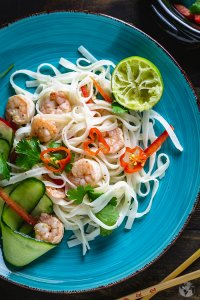 Thai rice noodle salad with spicy shrimp.