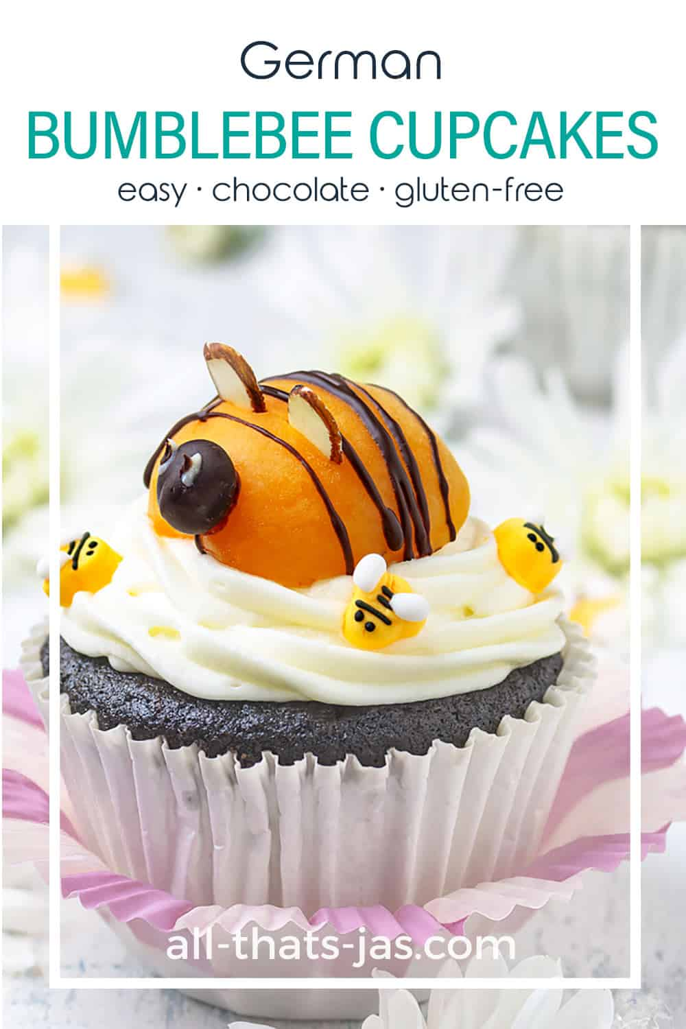 A close up of chocolate cupcake with frosting and apricot bumblebee on top and with text.