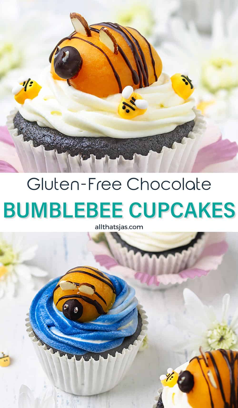 Two photo image of gluten-free chocolate cupcakes with text overlay in the middle.