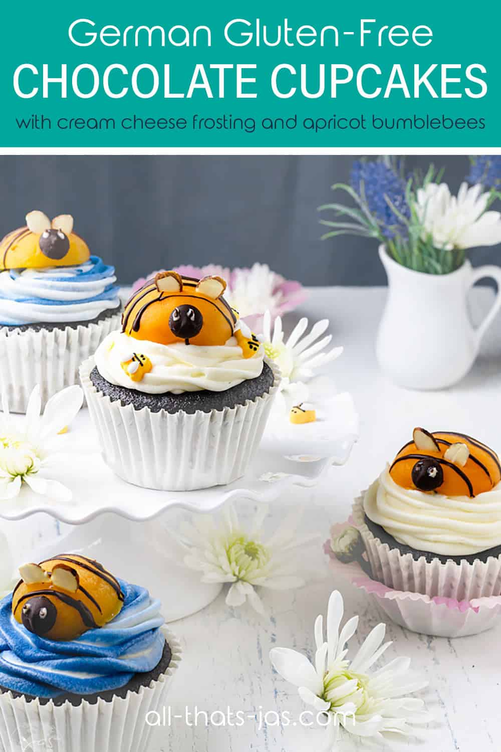 Chocolate cupcakes with bumblebee toppers sitting on a table with text overlay.