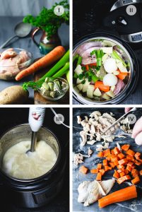 Four steps of how to make Bey's soup in an Instant pot, including ingredients