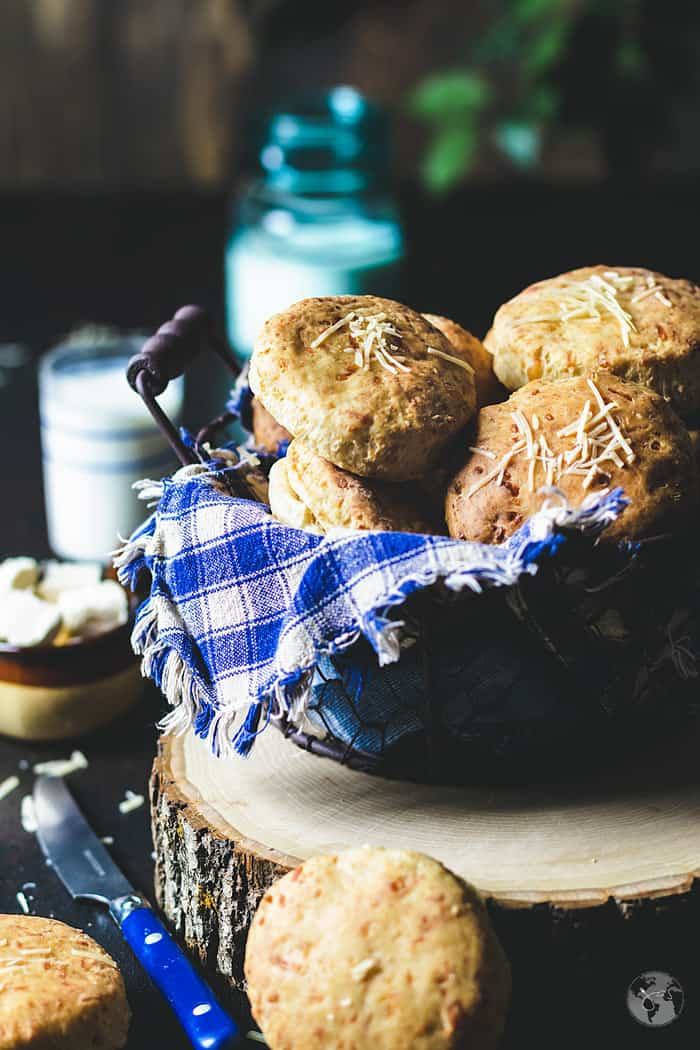 Basket with homemade buttermilk biscuits.