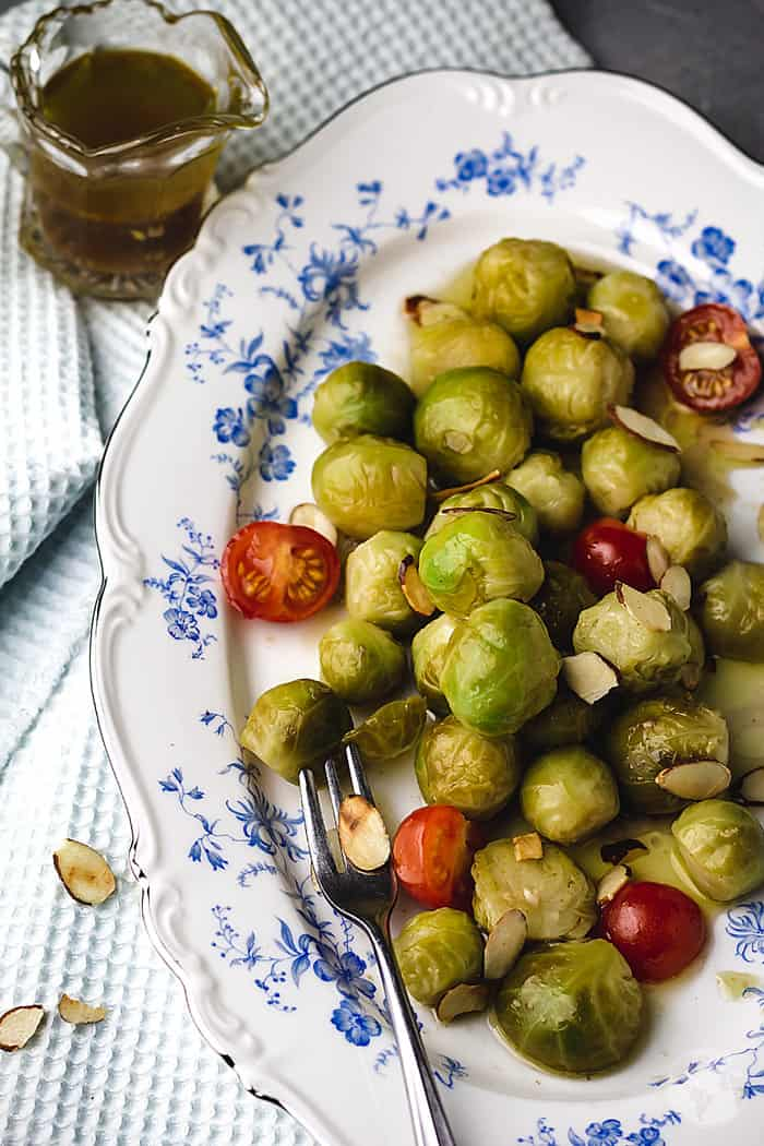 Whole sprouts dressed in a spicy marinade.