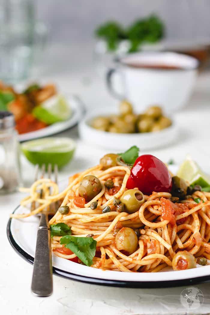 Vegetarian Mexican-style spaghetti recipe.