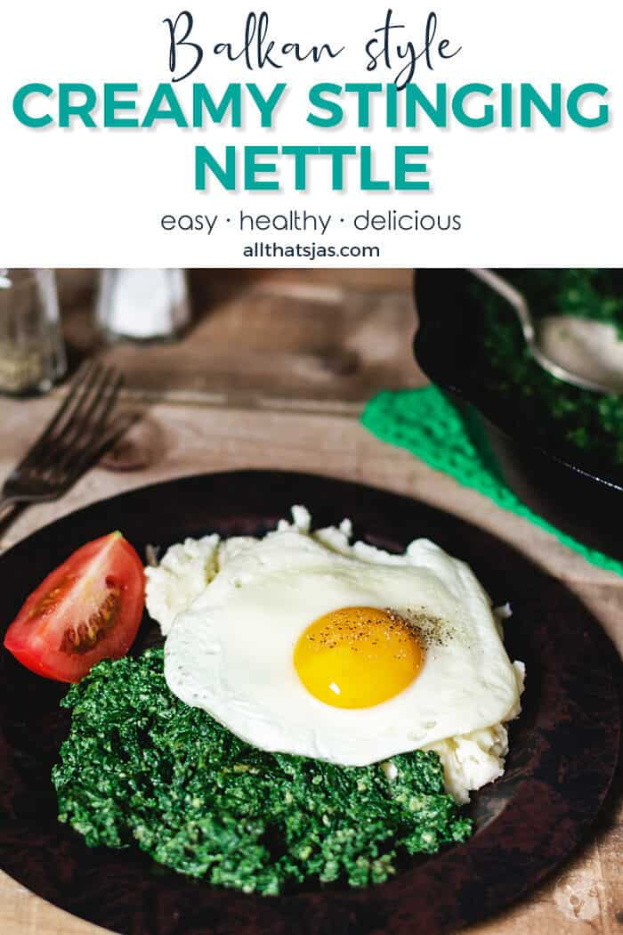 A shot of a plate with nettle dish and fried egg, with text overlay