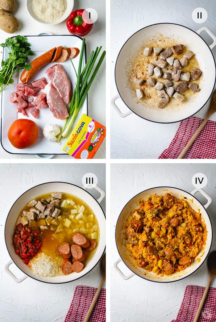 Ingredients and steps for making risotto - Colombian-style.