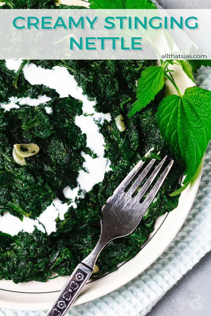 A shot of plate with stinging nettle dish with cream and a fork, with text overlay.