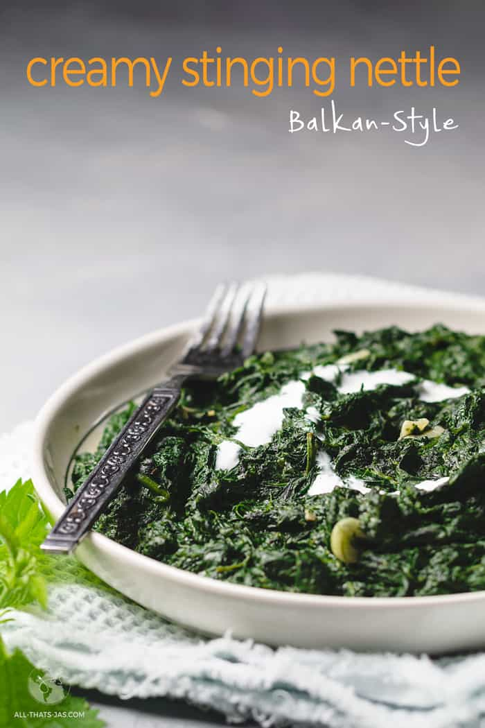 A serving of Balkan-style creamy stinging nettle.