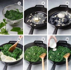 Step by step 6 photos of how to make creamy stinging nettle.
