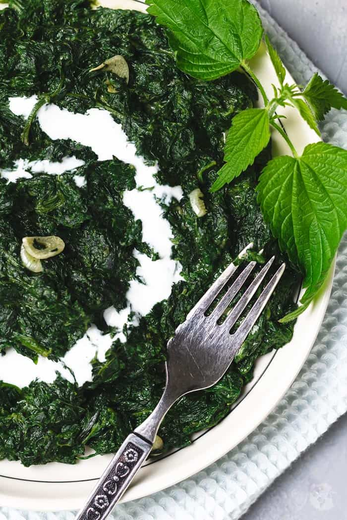 Close up shot of the plated nettle recipe.