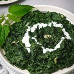 A plate of creamy nettle with a cream swirl.