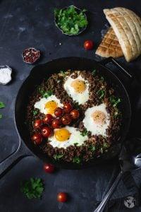 overhead photo of cimbur - Bosnian breakfast lunch or supper dish.
