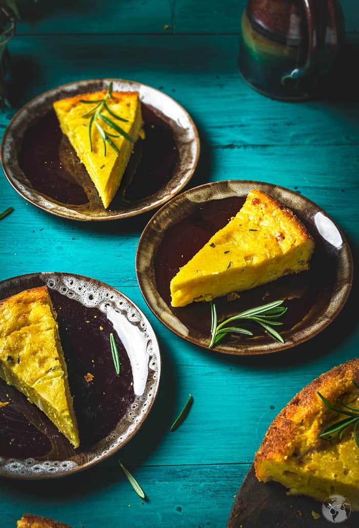 Paraguayan cornbread slices on brown plates
