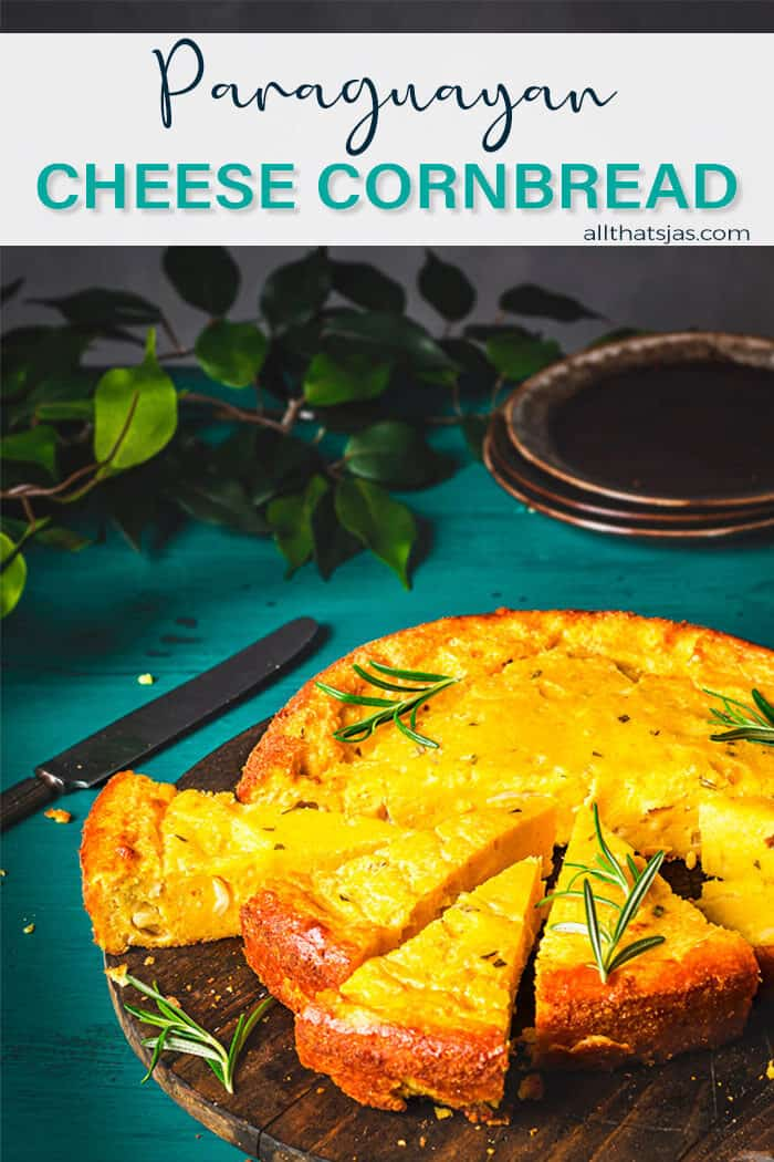 A front shot of the cornbread sliced in wedges with text overlay
