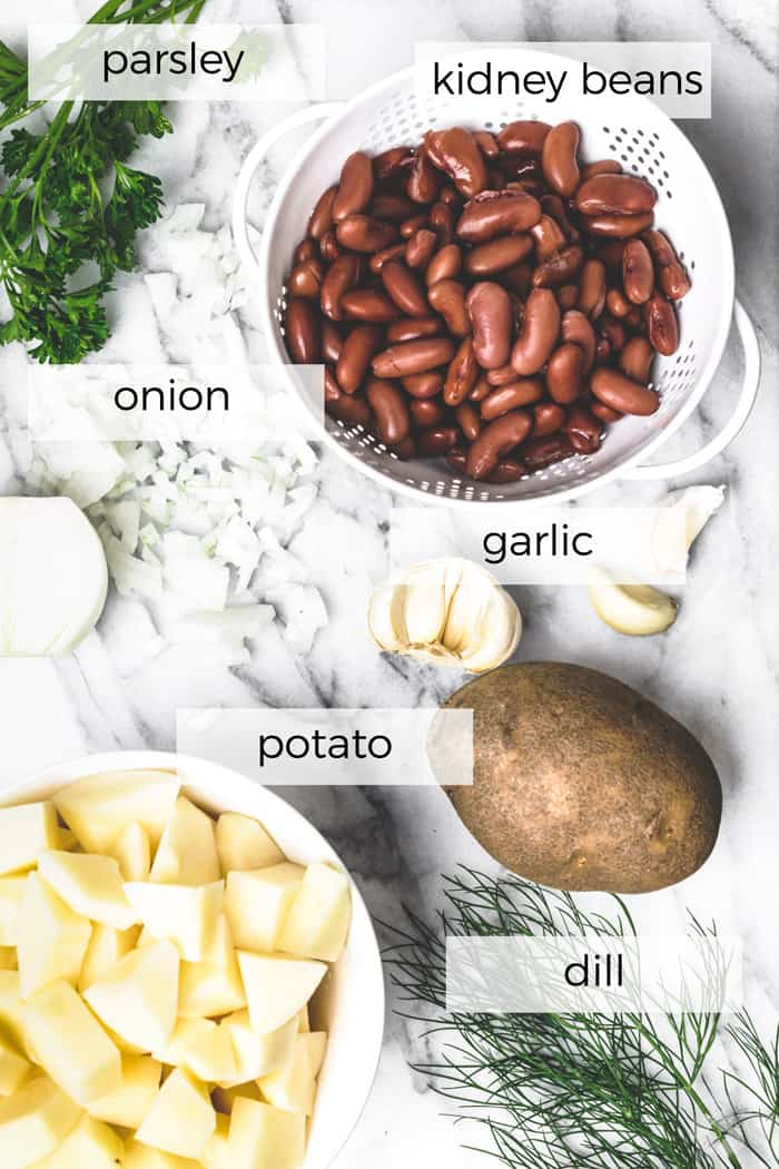 A few basic ingredients for beans and potatoes Belarusian dish for easy cooking.
