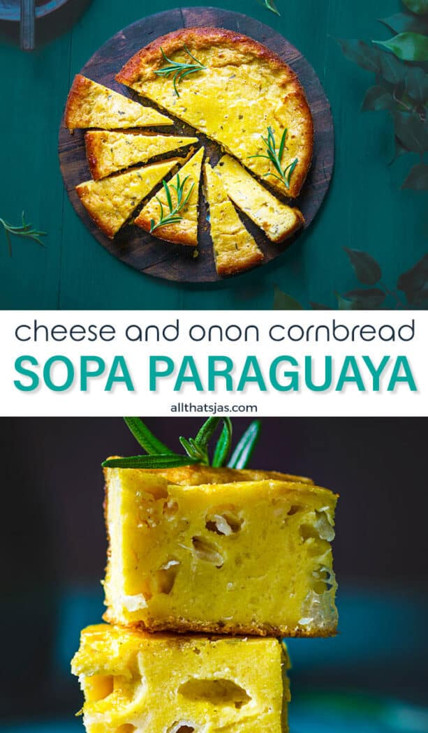 Two photos of sope paraguaya in one image with text overlay in the middle
