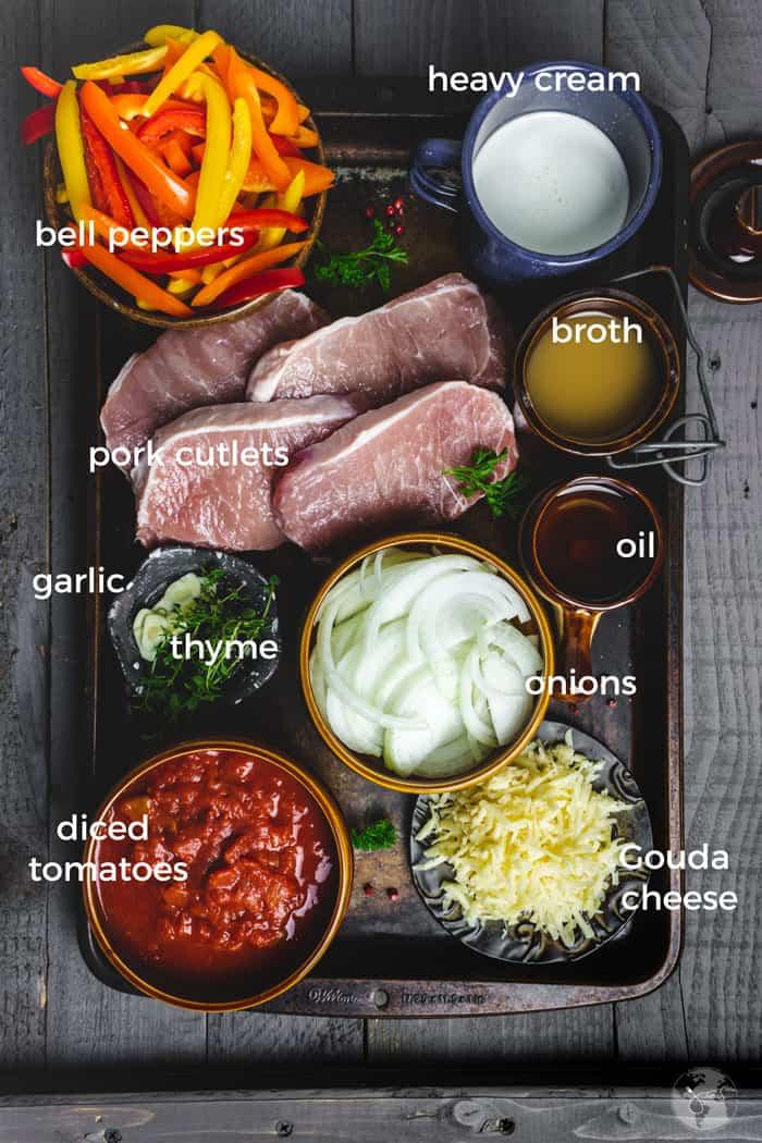 Ingredients for German Gipsy schnitzel dinner