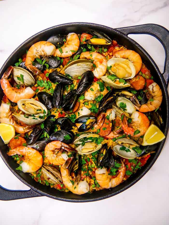 seafood paella in cast iron skillet