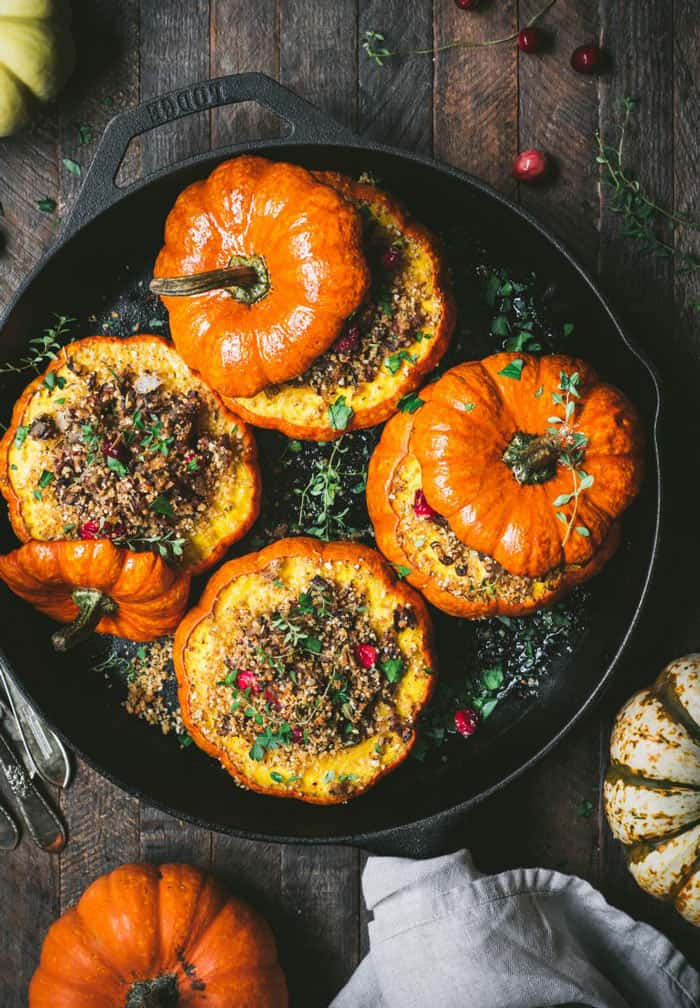 Skilled baked mini pumpkins stuffed with rice