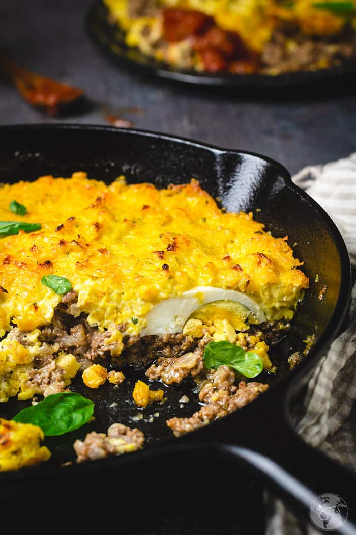Close up shot showing the texture of the corn pie with ground beef and eggs.