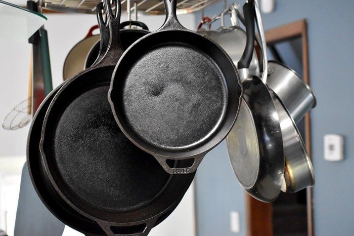 Hanging cast iron skillets