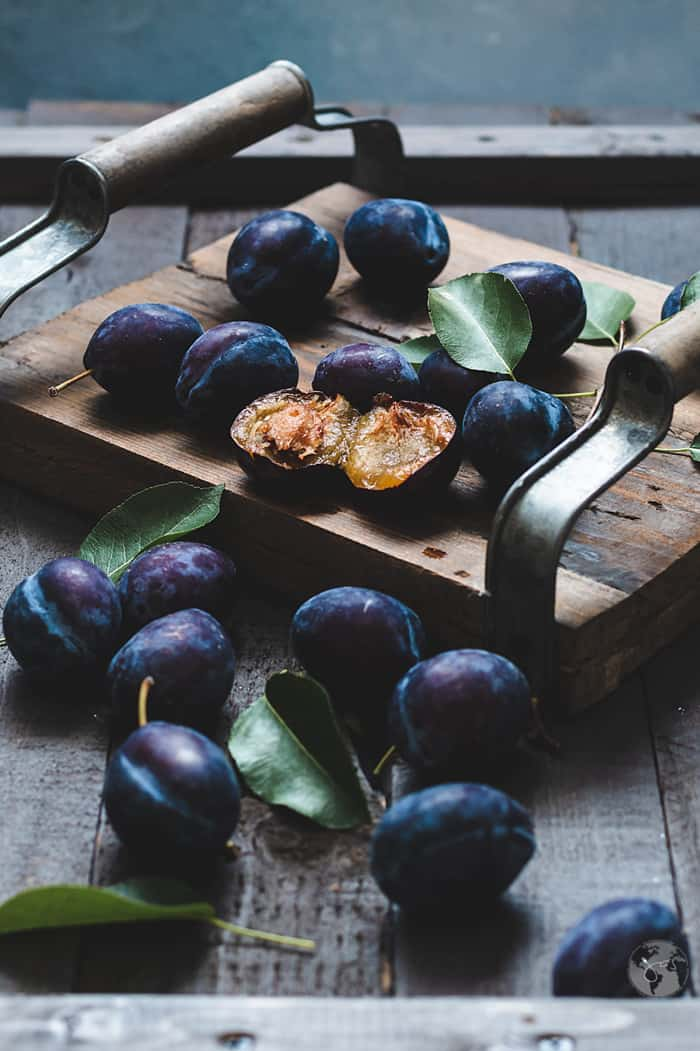 Italian prune plums spread on the table