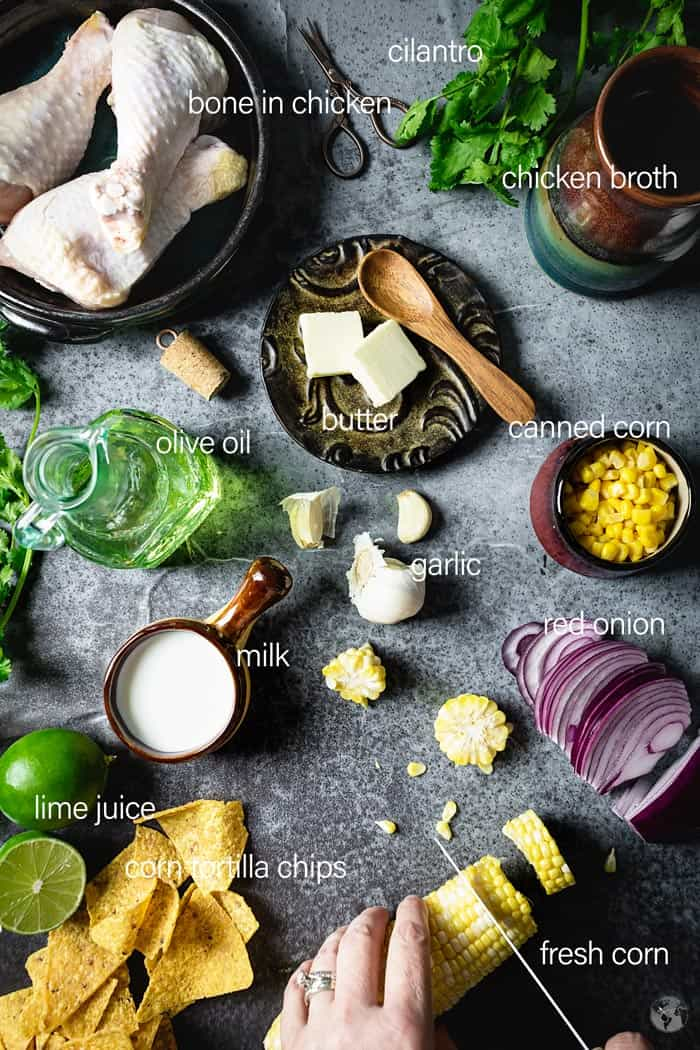 Ingredients for chicken corn chowder