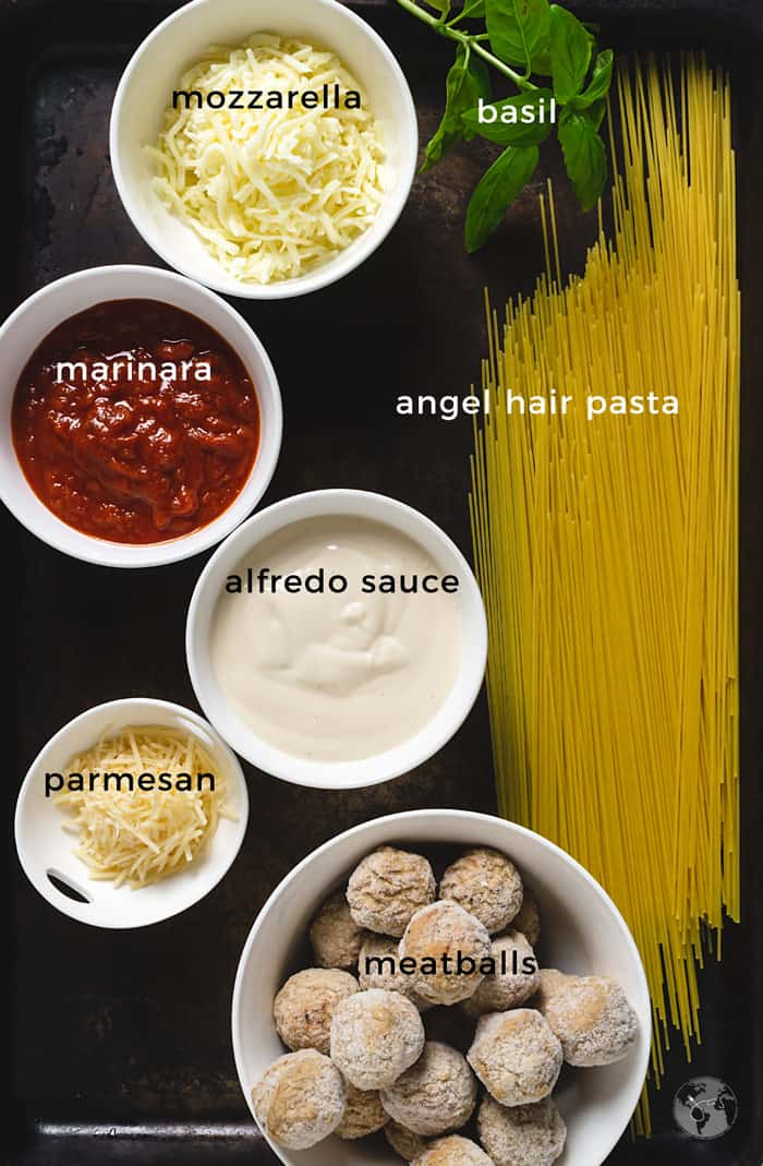 Ingredients for spaghetti and meatball appetizer.