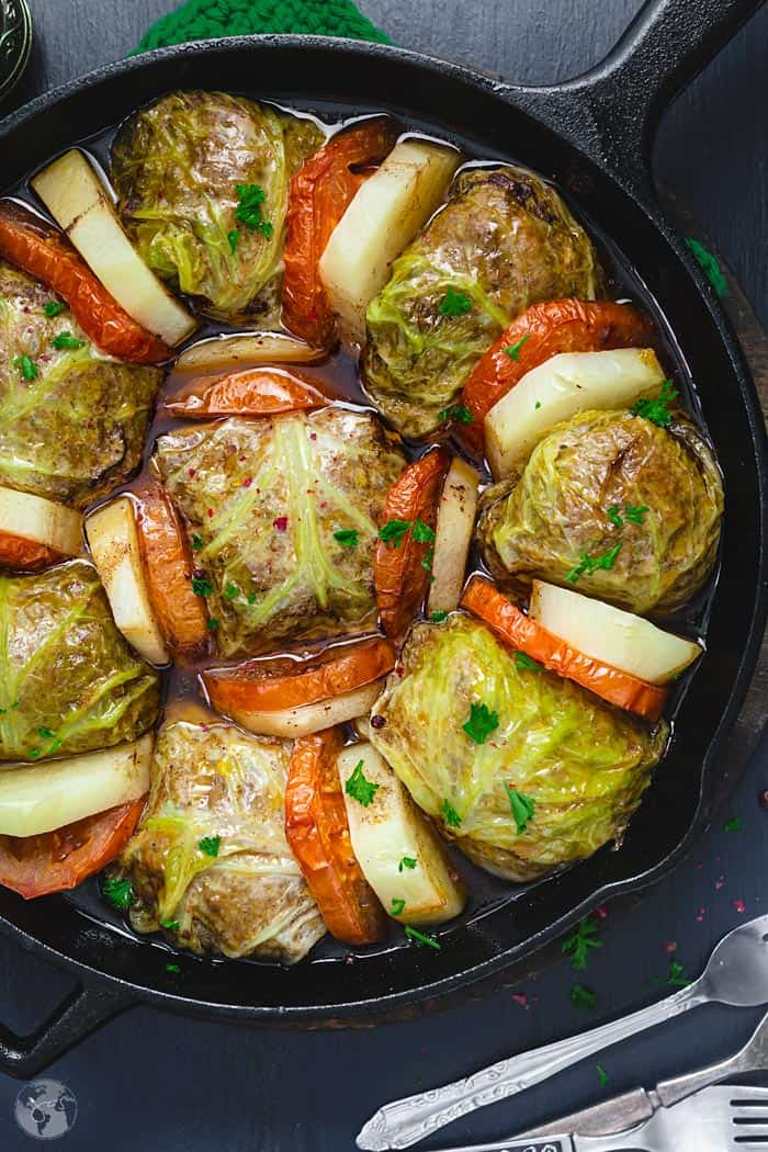 Palestinian Stuffed Savoy Cabbage Rolls - overhead close