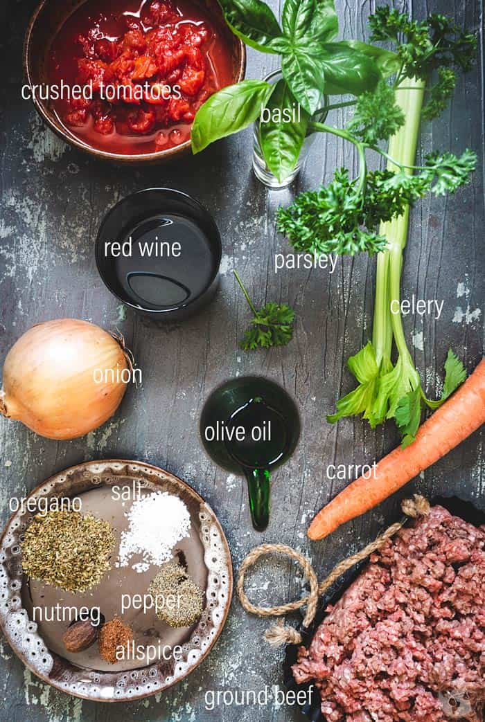 Ingredients for the casserole meat sauce layer