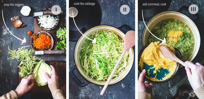 Steps to making polenta with cabbage