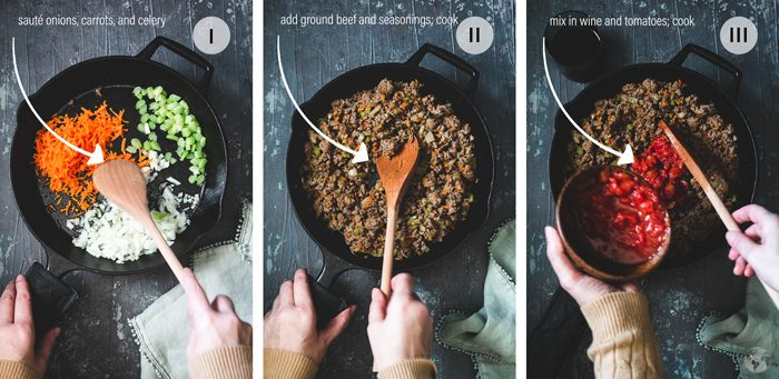 3 photos with skillets with how to make meat sauce.