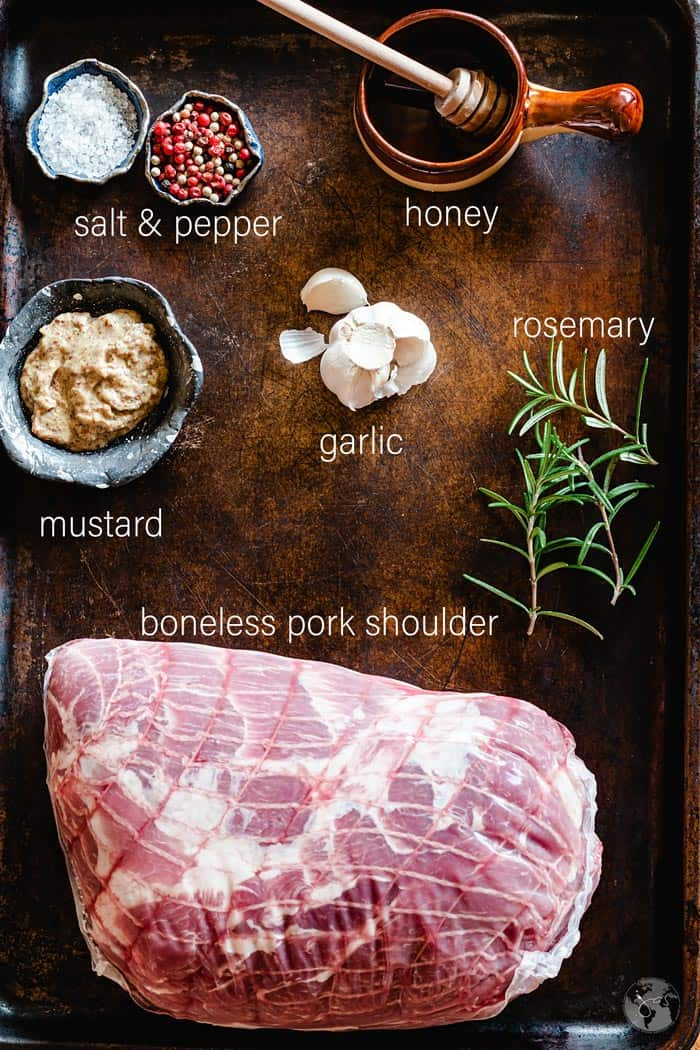 Ingredients for mustard and honey pork roast