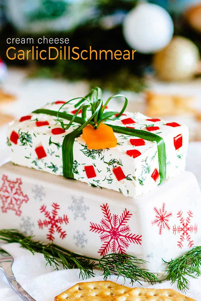 Cream cheese schmear wrapped like a Christmas gift