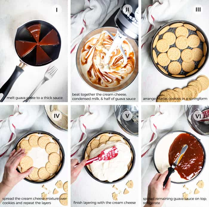 Step by step photos for making guava carlota cake