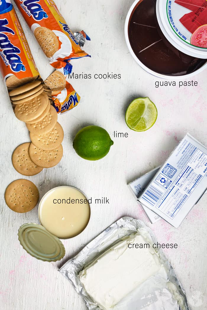 Ingredients for Guava Charlotte no-bake cake