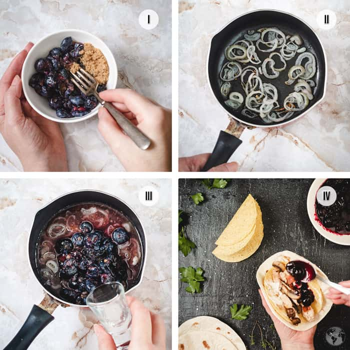 Steps to making the blueberry sauce