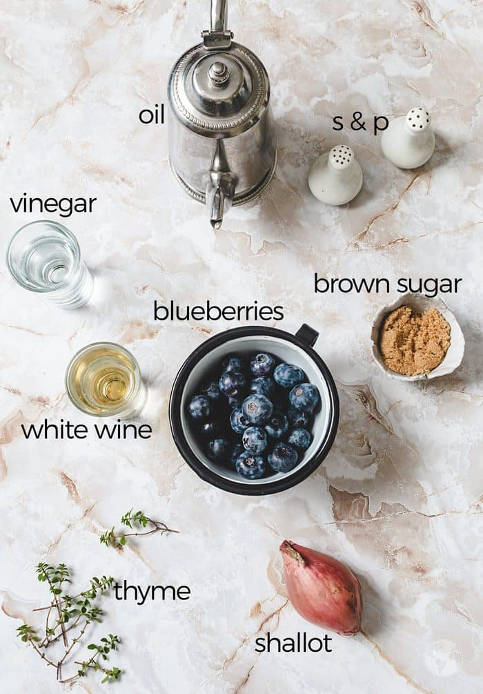 Ingredients for the savory blueberry sauce