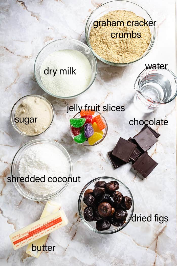 Ingredients for stuffed figs with coconut and chocolate coating