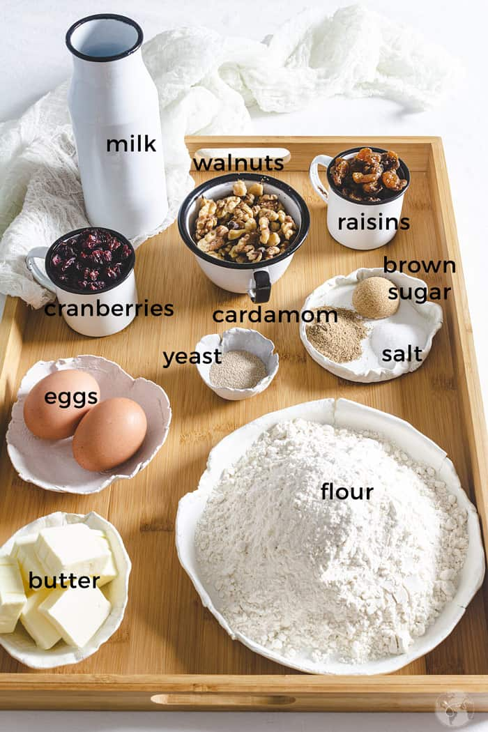 Ingredients for Danish buns with yeast