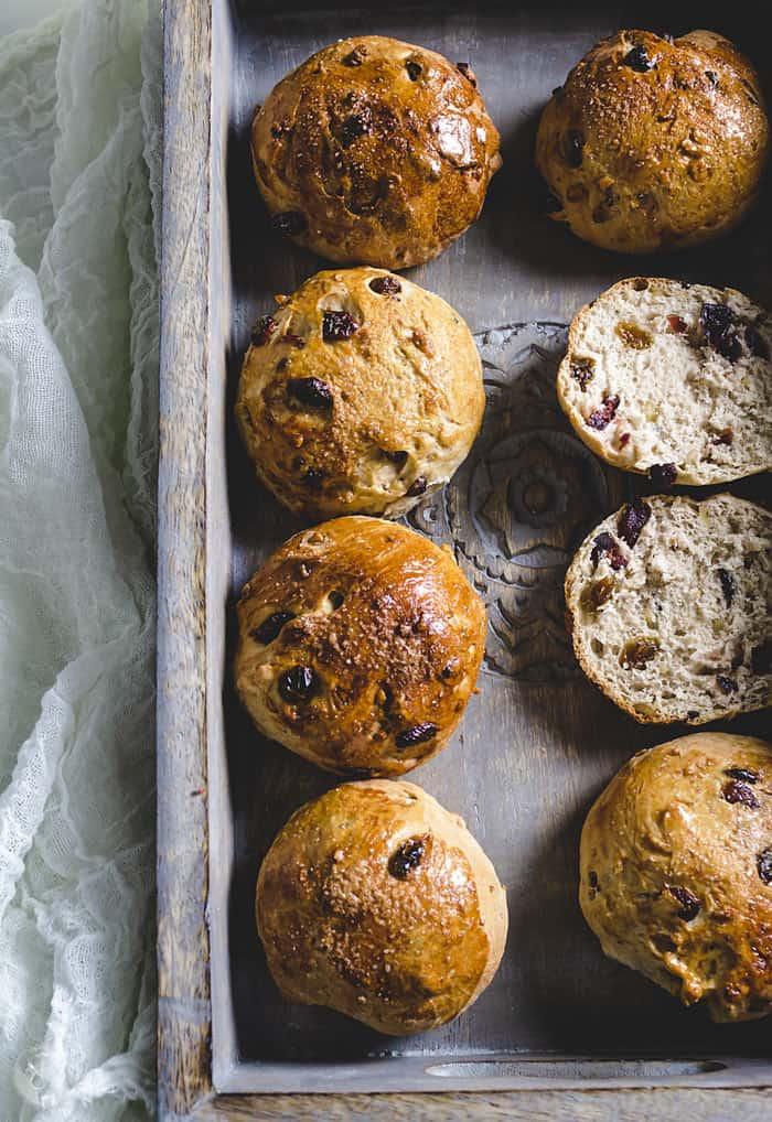 Sweet bread rolls lined up in a basket