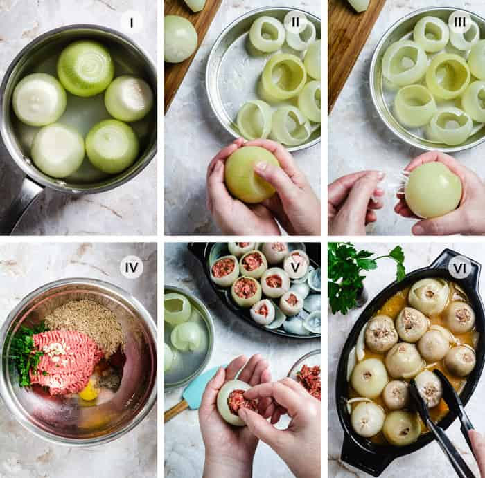 Step by step photos on how to make beef-stuffed onions