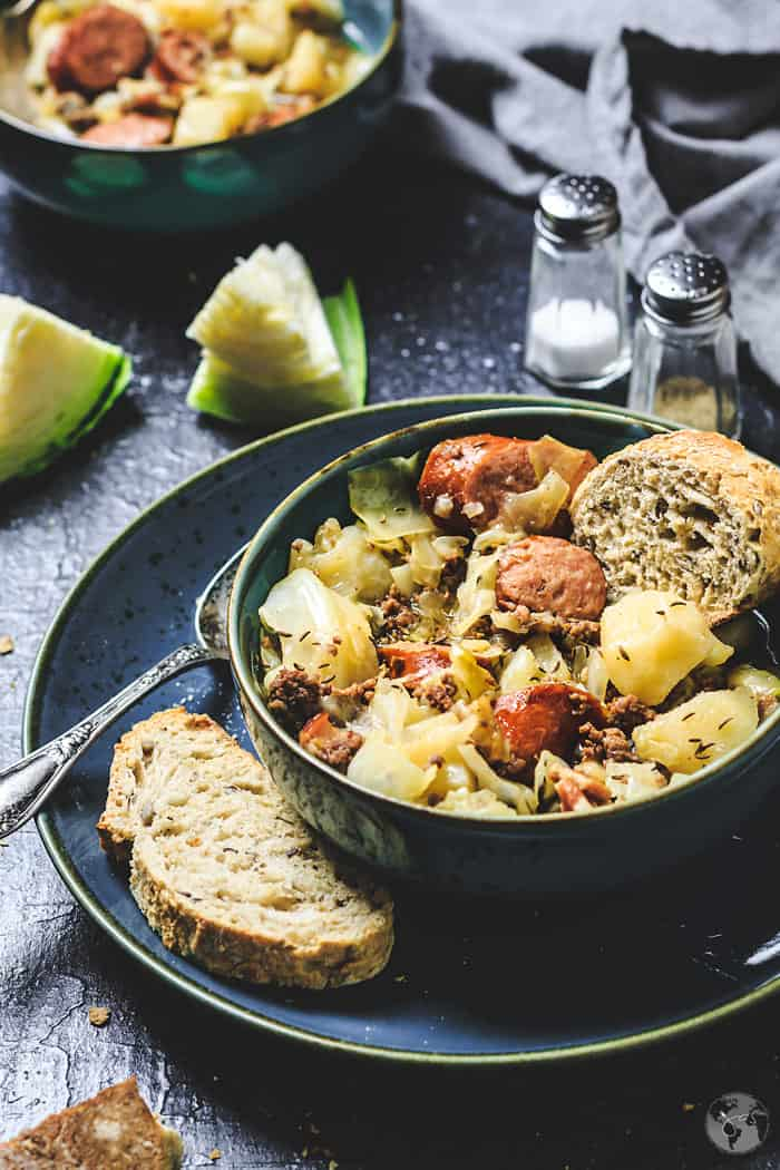 Delicious Stew in a bowl with crusty bread.