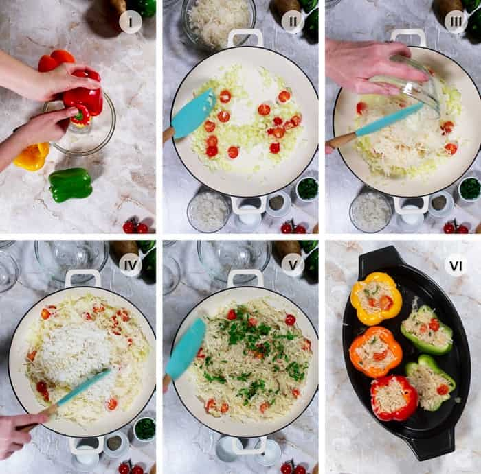 Step by step photos on how to make stuffed vegan peppers recipe.