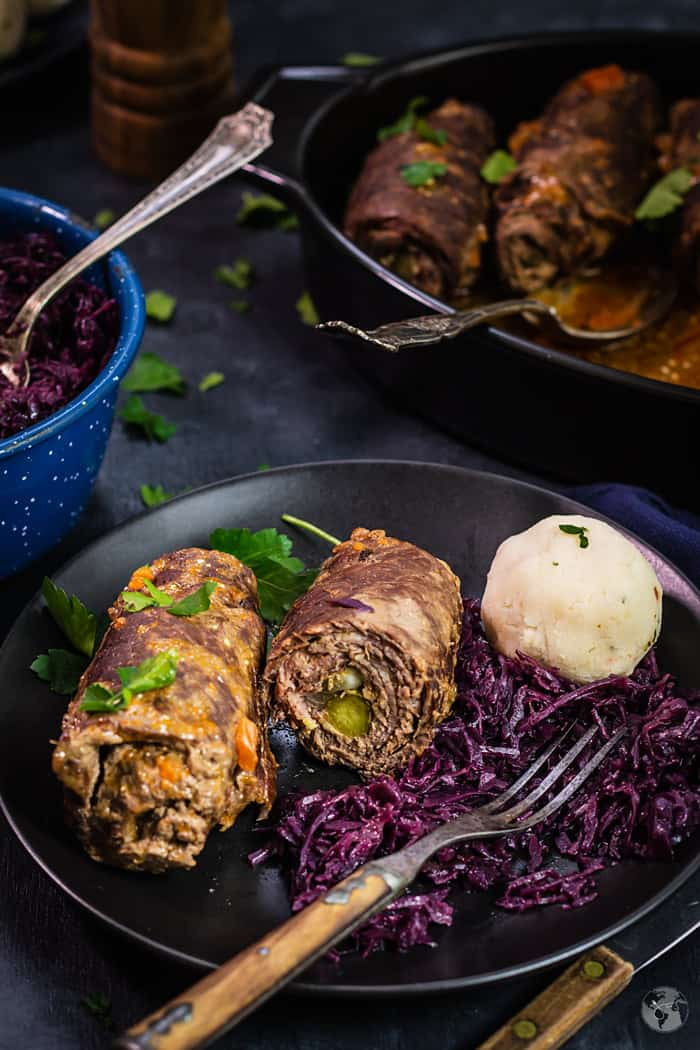 Rouladen on a plate and in the pan.