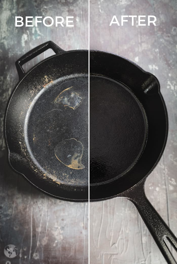 Before and after cleaning and seasoning cast iron skillet.